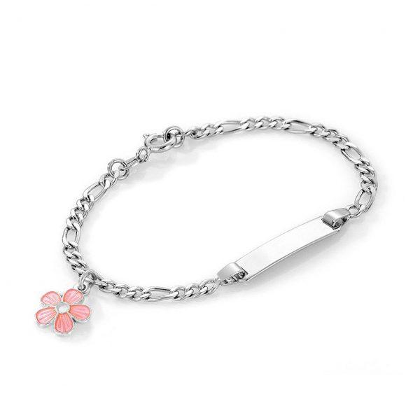 Mestergull Sølv og emalje armbånd med plate for gravering og charms med rosa blomst PIA & PER Armbånd