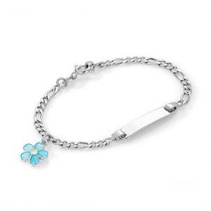 Mestergull Sølv og emalje armbånd med plate for gravering og charms med turkis blomst PIA & PER Armbånd