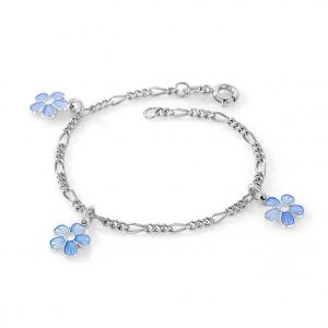 Mestergull Sølv armbånd med charms i blomster med lys blå emalje PIA & PER Armbånd