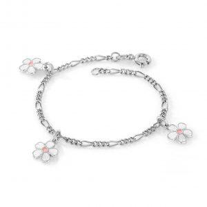 Mestergull Sølv armbånd med charms i blomster med hvit emalje PIA & PER Armbånd