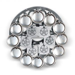 Mestergull Sølje i oksidert sølv med blanke skåler NORSK BUNADSØLV Sølje