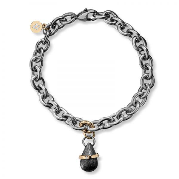 Mestergull Armbånd i stål med gult gull ledd og dråpe i oksidert sølv med gult gull bånd o 5 x 0,01 carat TWSI VAN BERGEN Dråpe Armbånd