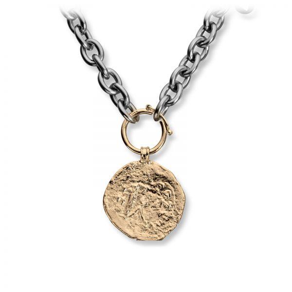 Mestergull Stålkjede med gult gull ledd og ringlås, stor gult gull mynt diameter 26 mm. VAN BERGEN Kjede