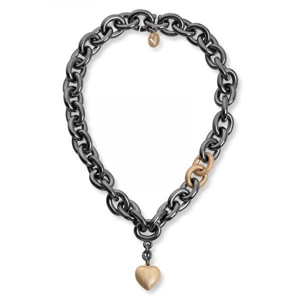 Mestergull Kraftig hals kjede/collie i oksidert sølv med gult gull ledd og stor gult gull hjerte. VAN BERGEN Golden Heart Kjede
