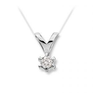 Mestergull Klondike er serien med de gode prisene. Solitaireserien kombinerer hvitt gull og diamanter i kvaliteten JP1 i str. 0,03 ct. til 0,20 ct. KLONDIKE Anheng