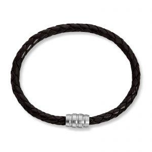 Mestergull Tøft armbånd i flettet sort skinn MESTERGULL Armbånd