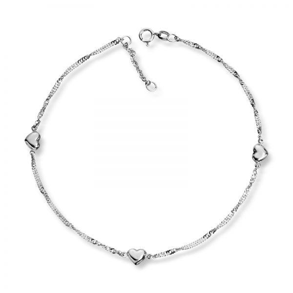 Mestergull Søt ankellenke i sølv med hjerter MESTERGULL Ankellenke