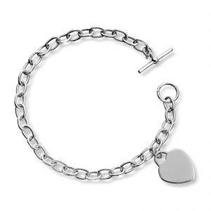 Mestergull Tøft armbånd i sølv med hjerte charm MESTERGULL Armbånd