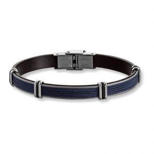 Mestergull Tøft armbånd til herre i blått skinn og stål detaljer MESTERGULL Armbånd