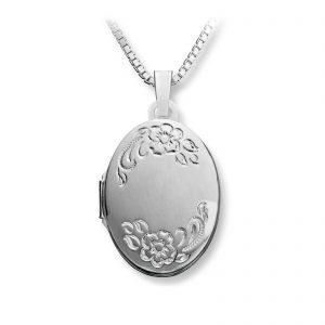 Mestergull Flott oval medaljong i sølv med floralt mønster MESTERGULL Anheng