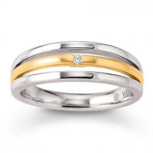 Mestergull Flott ring i rhodinert og forgylt sølv med diamant VIVENTY Ring