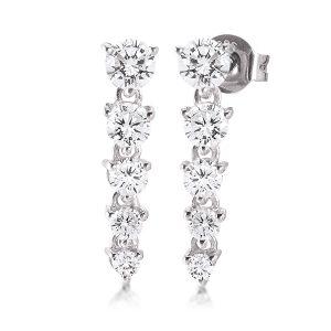 Mestergull Elegante lange ørepynt i rhodinert sølv med cubic zirkonia VIVENTY Ørepynt