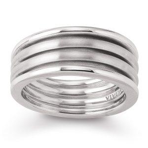 Mestergull Tøff bred ring i rhodinert sølv VIVENTY Ring