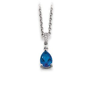 Mestergull Flott anheng i rhodinert sølv med blå topas og cubic zirkonia VIVENTY Anheng