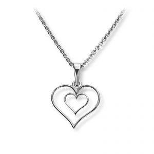 Mestergull Flott hjerteanheng i rhodinert sølv GID Anheng