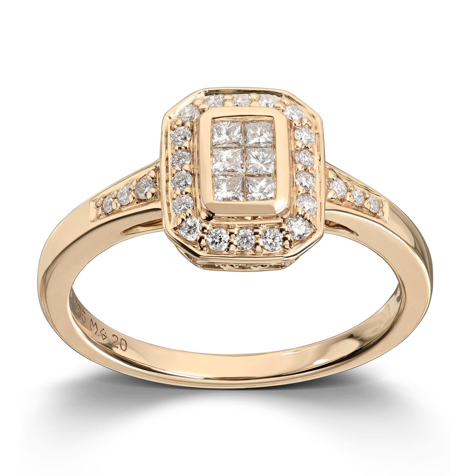Mestergull Vakker ring i gult gull med diamanter MG DIAMONDS Ring
