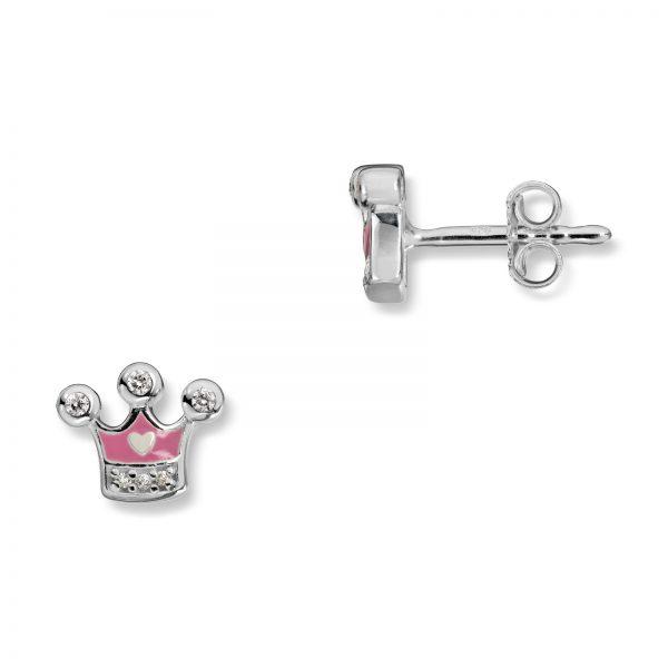 Mestergull Søt ørepynt i sølv med cubic zirkonia og rosa lakk MG BASIC Ørepynt