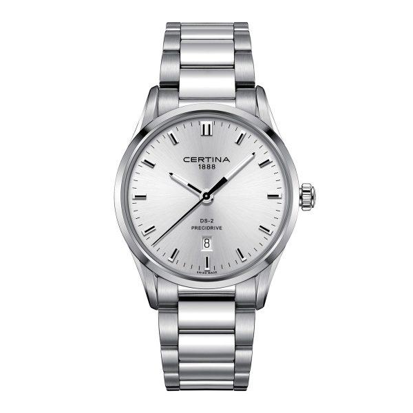 Mestergull Det høy-kvalitets Precidrive urverket gjør denne klokken pålitelig og presis, og klar til action når som helst. Den raffinerte urskiven og detaljene gir en fasjonabel touch til håndleddet. CERTINA DS-2 Ur