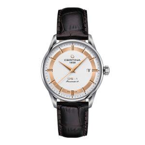 Mestergull Denne modellen er inspirert av de første klokkene med DS-konseptet som ble produsert av Certina i 1960. De har kombinert særegen design og sofistikerte detaljer med et innovativt automatisk urverk med gangreserve på opptil 80 timer. CERTINA DS-1 Ur