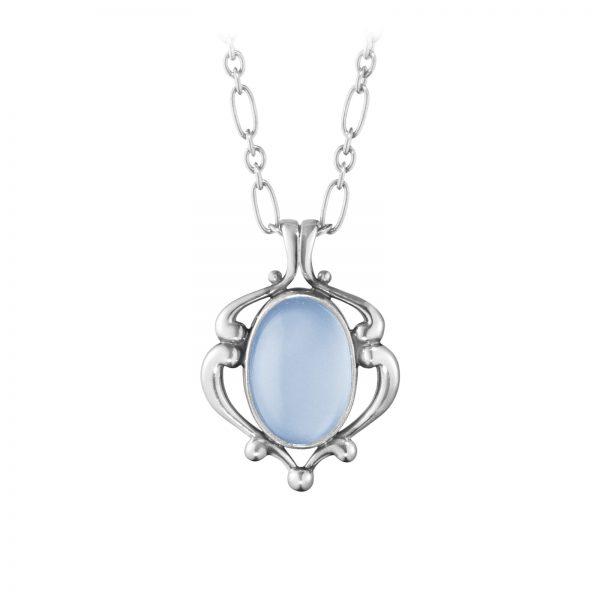 Mestergull Heritage Anheng i oksidert sølv med Blå kalsedon GEORG JENSEN Heritage Anheng