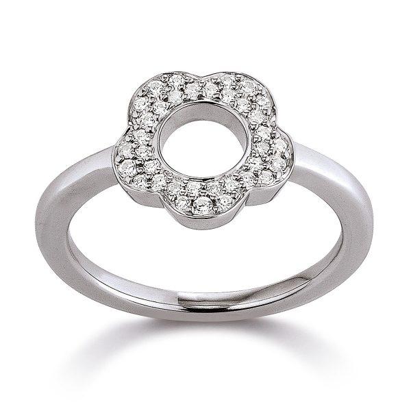 Mestergull Flott ring med blomst i rhodinert sølv med cubic zirkonia VIVENTY Ring