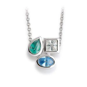 Mestergull Flott anheng i rhodinert sølv med hvite, blå og grønne cubic zirkonia VIVENTY Anheng