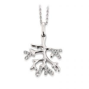 Mestergull Flott botanisk anheng i rhodinert sølv med cubic zirkonia VIVENTY Anheng