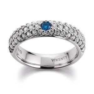 Mestergull Lekker ring i rhodinert sølv med hvite og blå cubic zirkonia VIVENTY Ring