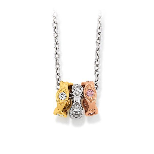 Mestergull Elegant anheng i rhodinert, forgylt og rosèforgylt sølv med cubic zirkonia VIVENTY Anheng