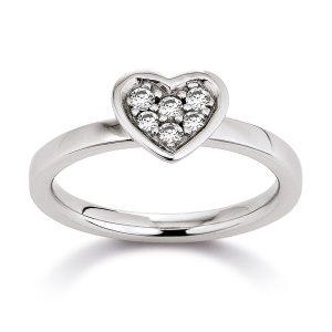 Mestergull Lekker hjertering i rhodinert sølv med cubic zirkonia VIVENTY Ring