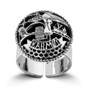 Mestergull Regulerbar sølvring med motiv fra Karmøy LOKAL BUNAD Ring