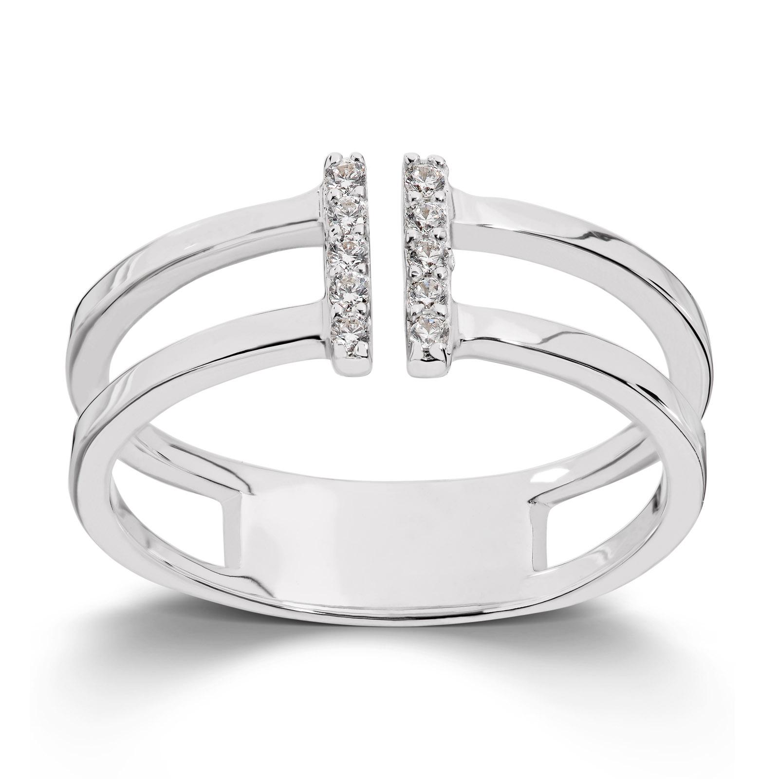 Mestergull Flott ring i rhodinert sølv med cuibc zirkonia GID Ring