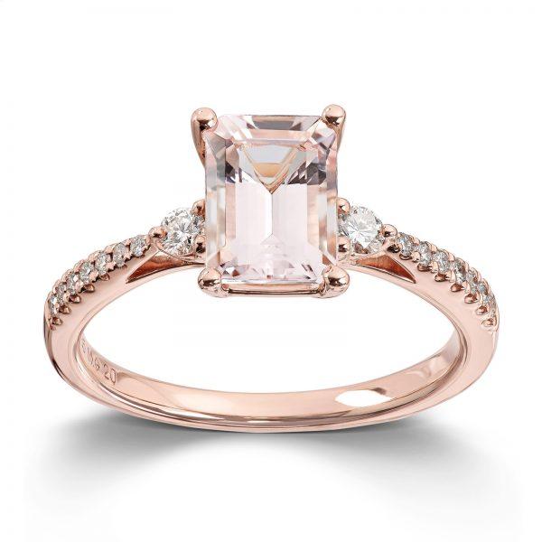 Mestergull Elegant ring i rosèforgylt gull med morganitt og diamanter MG DIAMONDS Ring