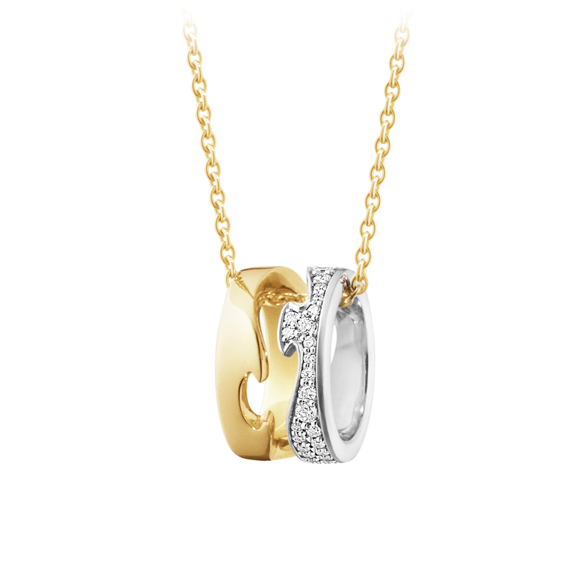 Mestergull Fusion anheng i gult gull og hvitt gull med diamanter GEORG JENSEN Fusion Anheng
