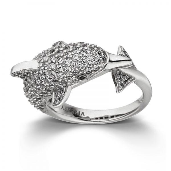 Mestergull Tøff ring i rhodinert sølv med hvite og sorte cubic zirkonia VIVENTY Ring