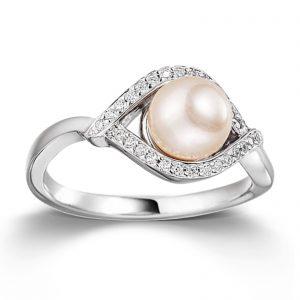 Mestergull Delikat ring i rhodinert sølv med cubic zirkonia og ferskvannsperle VIVENTY Ring