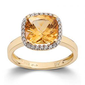 Mestergull Elegant ring i gult gull med citrin og diamanter MG DIAMONDS Ring