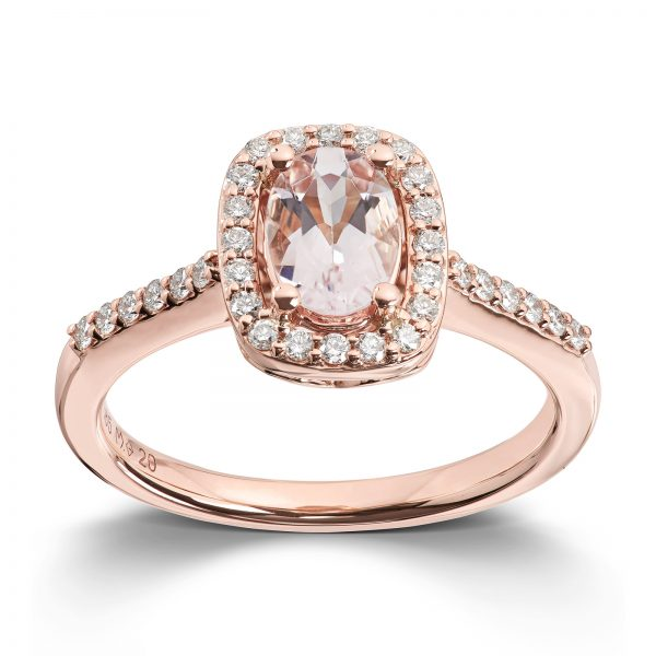Mestergull Elegant ring i rosè gull med morganitt og diamanter MG DIAMONDS Ring