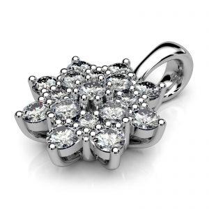 Mestergull Rosettanheng i hvitt gull 585 med 17 diamanter. Spesialutviklet for å gjenbruke kundens diamanter. Totalt 0,47 ct. DESIGN STUDIO Spesialdesign Anheng