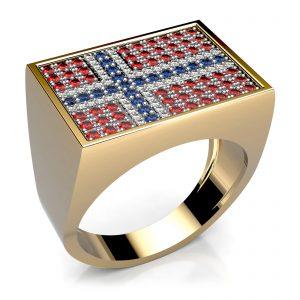 Mestergull Herrering i 18 kt. gult gull med det Norske flagget i safirer, rubiner og diamanter. Samlet 128 edelstener fattet i topplate i hvitt gull, utført i ringstørrelse 70 DESIGN STUDIO Spesialdesign Ring
