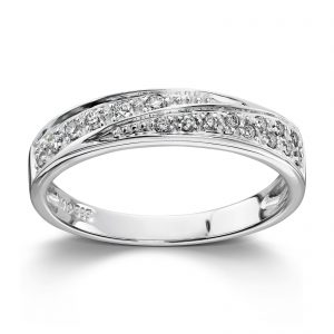 Mestergull Vakker ring i hvitt gull med diamanter MG DIAMONDS Ring