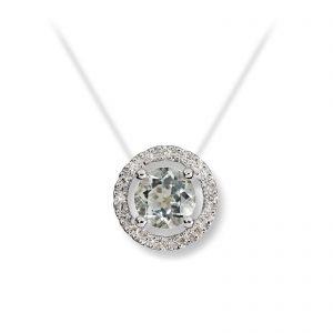 Mestergull Delikat anheng i hvitt gull med prasiolitt og diamanter MG DIAMONDS Anheng