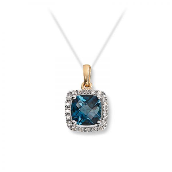 Mestergull Lekkert anheng i gult gull med London blue topas og diamanter MG DIAMONDS Anheng