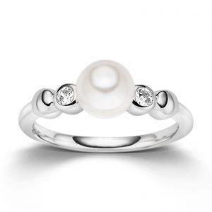 Mestergull Lekker ring i rhodinert sølv med ferskvannsperle og cubic zirkonia VIVENTY Ring