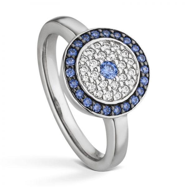 Mestergull Flott ring i rhodinert sølv med hvite og blå cubic zirkonia VIVENTY Ring