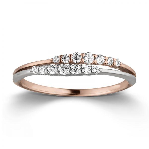 Mestergull Elegant ring i rhodinert og rosè forgylt sølv med cubic zirkonia VIVENTY Ring