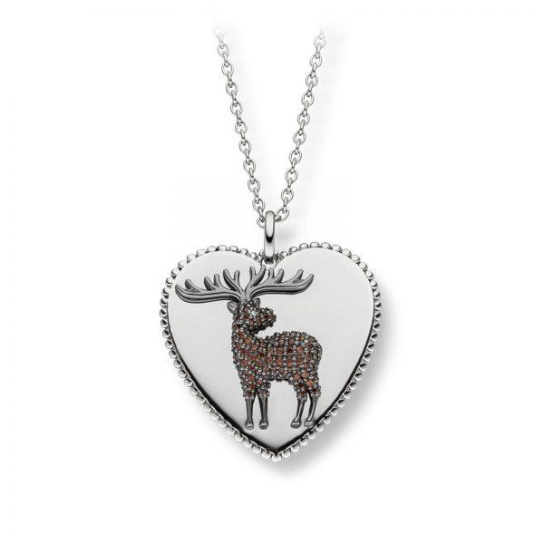 Mestergull Flott hjerteanheng i rhodinert sølv med rosè forgylt elg VIVENTY Anheng