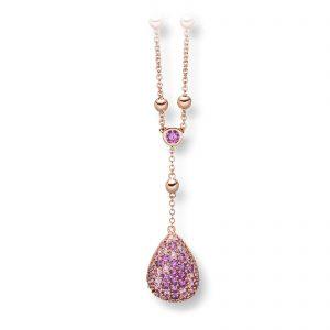 Mestergull Lekkert kjede i rosè forgylt sølv med lilla og rosa cubic zirkonia VIVENTY Kjede