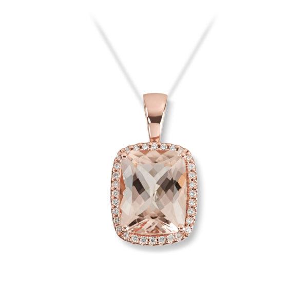 Mestergull Lekkert anheng i rosè gull med Fersken Morganitt og diamanter MG DIAMONDS Anheng