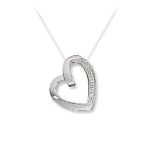 Mestergull Delikat hjerteanheng i hvitt gull med diamanter MESTERGULL Anheng